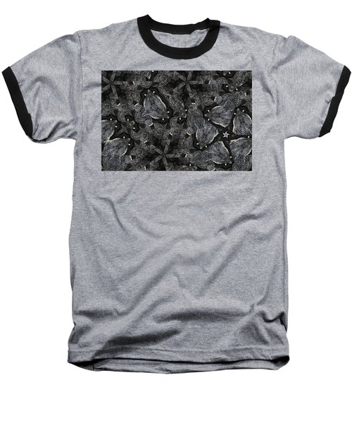 Black Granite Kaleido 3 Baseball T-Shirt by Peter J Sucy