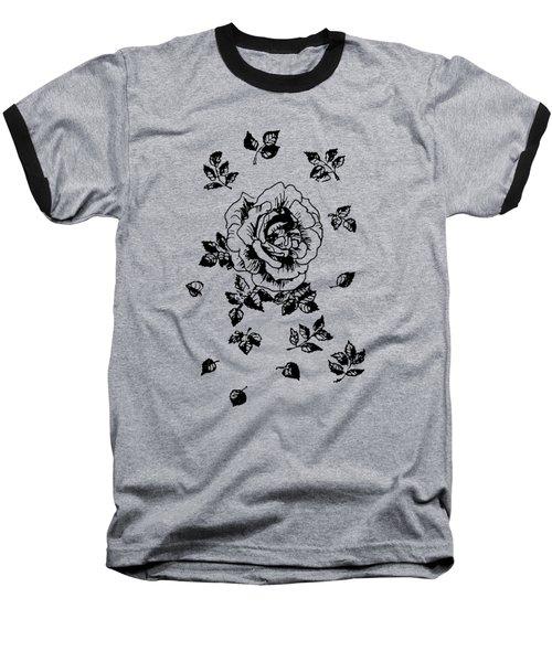 Black Graphic Rose Baseball T-Shirt