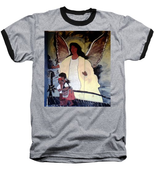 Black Guardian Angel Mural Baseball T-Shirt