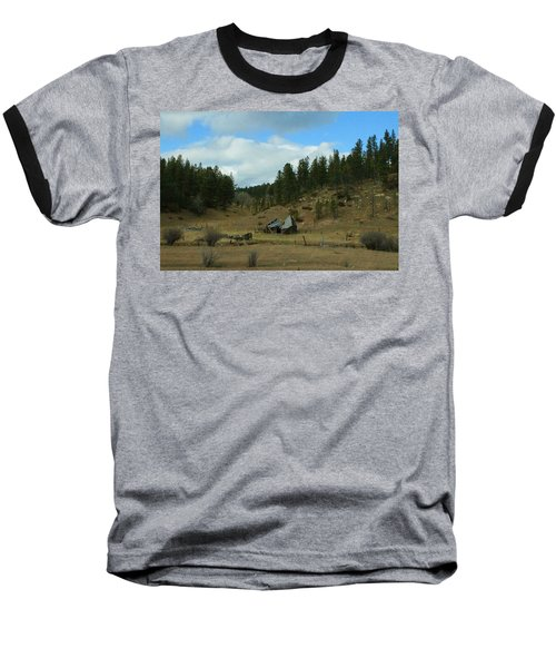 Black Hills Broken Down Cabin Baseball T-Shirt