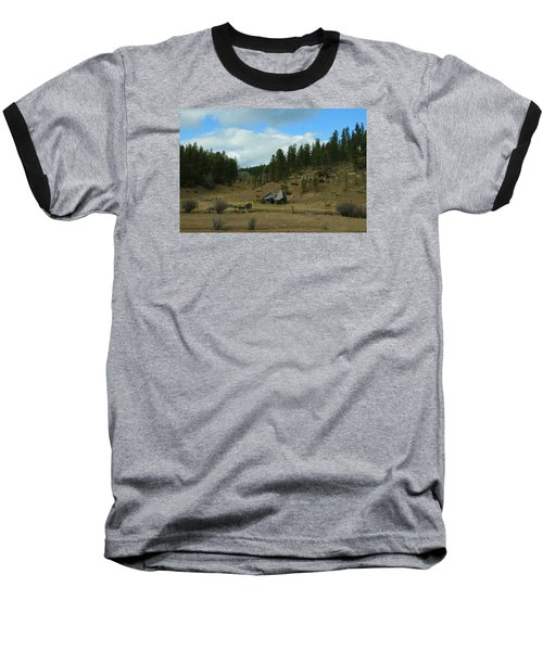 Black Hills Broken Down Cabin Baseball T-Shirt