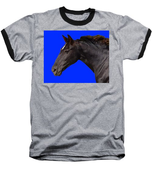 Black Horse Spirit Blue Baseball T-Shirt