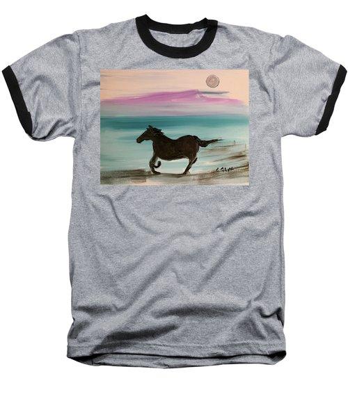 Black Horse With Moon Baseball T-Shirt