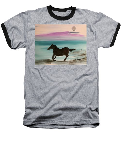 Black Horse With Moon Baseball T-Shirt