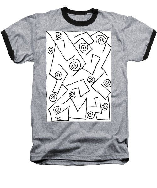 Black Ink Abstract Baseball T-Shirt by Patricia Cleasby
