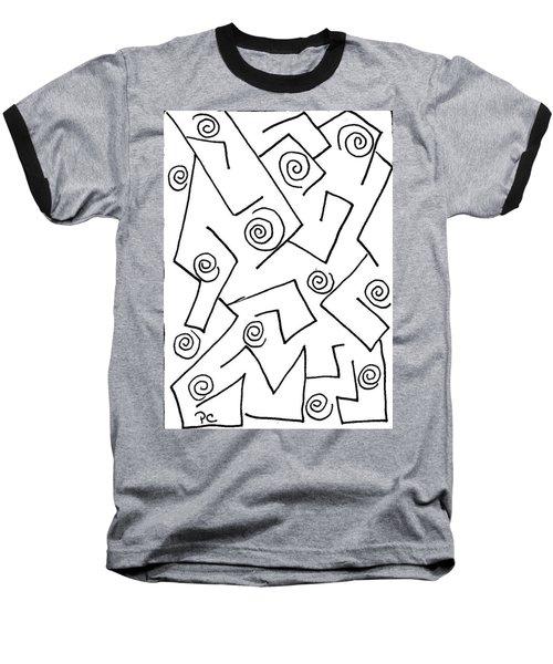 Black Ink Abstract Baseball T-Shirt