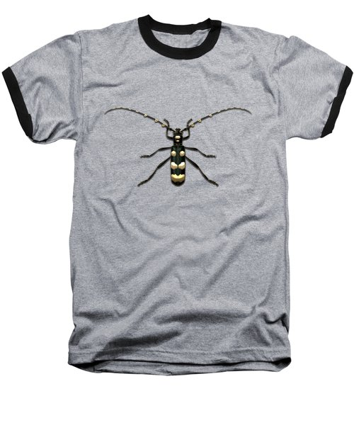 Black Longhorn Beetle With Gold Accents On Black Canvas Baseball T-Shirt