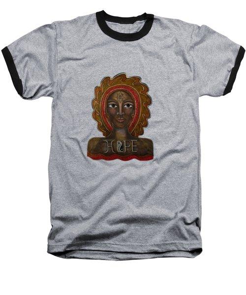 Baseball T-Shirt featuring the painting Black Madonna - Hope by Deborha Kerr