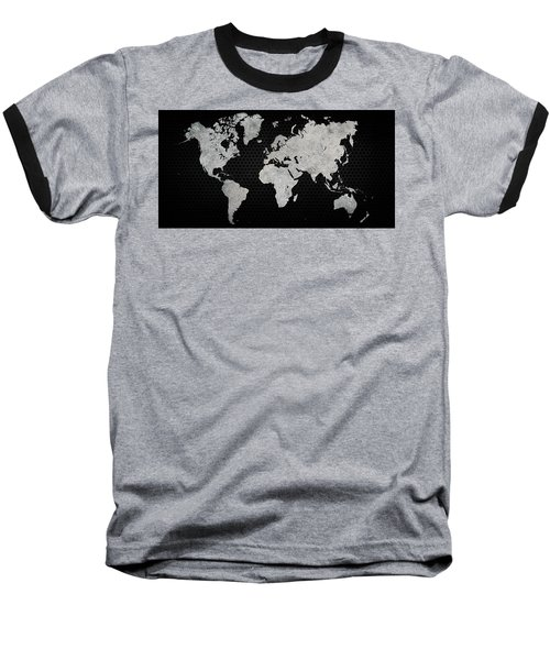 Baseball T-Shirt featuring the digital art Black Metal Industrial World Map by Douglas Pittman