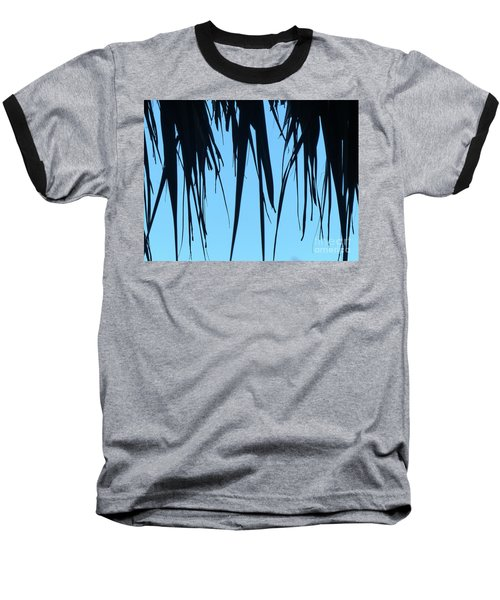 Black Palms On Blue Sky Baseball T-Shirt