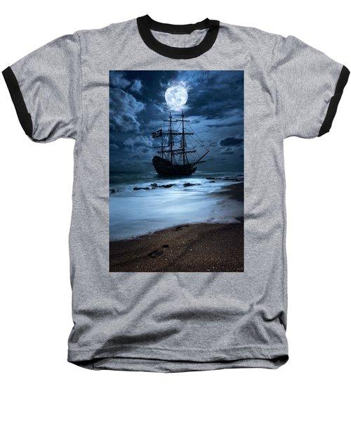 Black Pearl Pirate Ship Landing Under Full Moon Baseball T-Shirt by Justin Kelefas