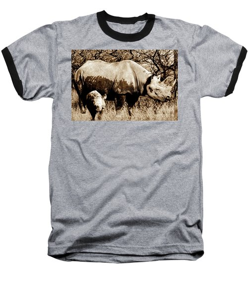 Black Rhino And Youngster Baseball T-Shirt