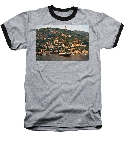 Black Sailboat At Villefranche II Baseball T-Shirt by Steven Sparks
