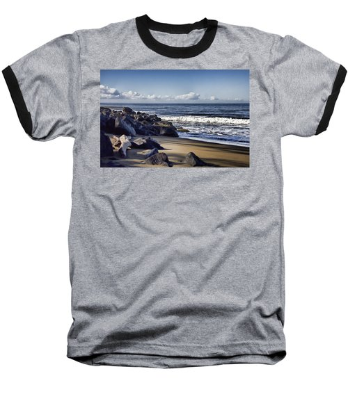Black Sand Beach  Baseball T-Shirt by Douglas Barnard