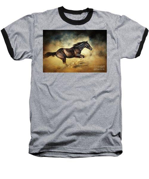 Black Stallion Horse Galloping Like A Devil Baseball T-Shirt