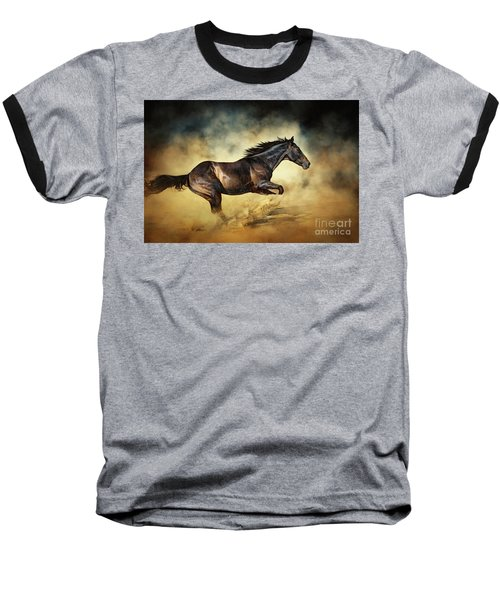 Black Stallion Horse Galloping Like A Devil Baseball T-Shirt