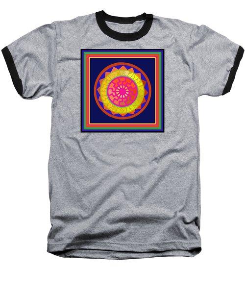Black Sun Mandala Rune Calendar Baseball T-Shirt