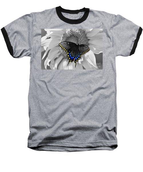 Black Swallowtail And Sunflower Color Splash Baseball T-Shirt