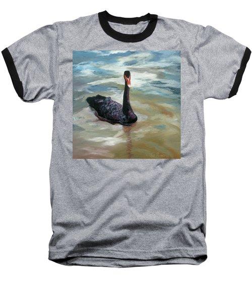Black Swan Baseball T-Shirt by Roseann Gilmore