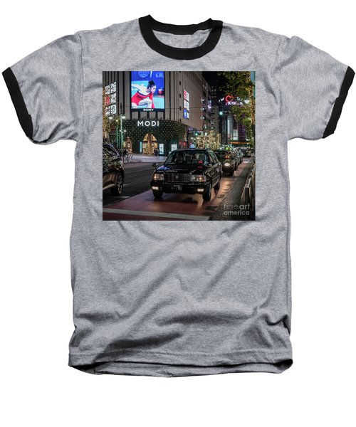 Baseball T-Shirt featuring the photograph Black Taxi In Tokyo, Japan by Perry Rodriguez