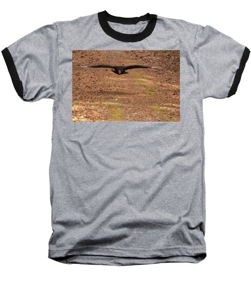 Baseball T-Shirt featuring the digital art Black Vulture In Flight by Chris Flees