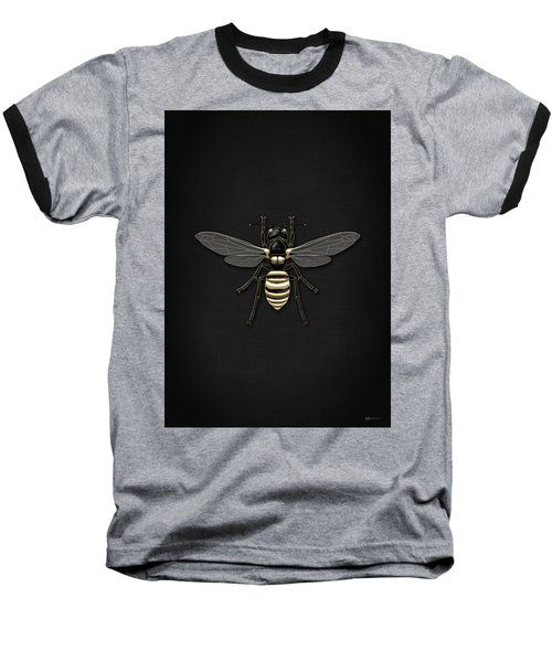 Black Wasp With Gold Accents On Black  Baseball T-Shirt by Serge Averbukh