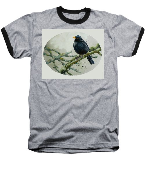 Blackbird Painting Baseball T-Shirt by Alison Fennell