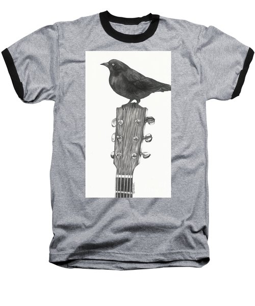 Baseball T-Shirt featuring the drawing Blackbird Solo  by Meagan  Visser