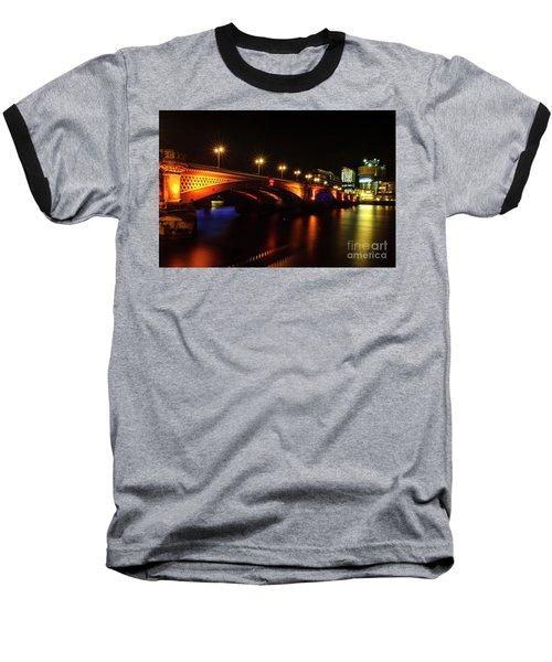 Blackfriars Bridge Illuminated In Orange Baseball T-Shirt