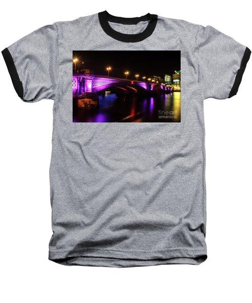 Blackfriars Bridge Illuminated In Purple Baseball T-Shirt