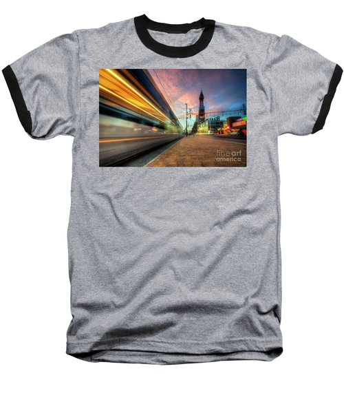 Baseball T-Shirt featuring the photograph Blackpool Tram Light Trail by Yhun Suarez