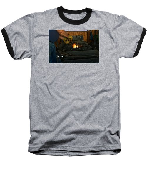 Baseball T-Shirt featuring the photograph Blacksmith At Work by Steven Clipperton