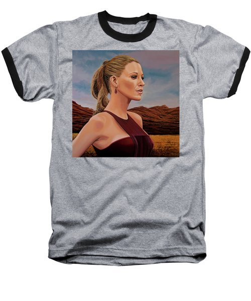 Blake Lively Painting Baseball T-Shirt by Paul Meijering