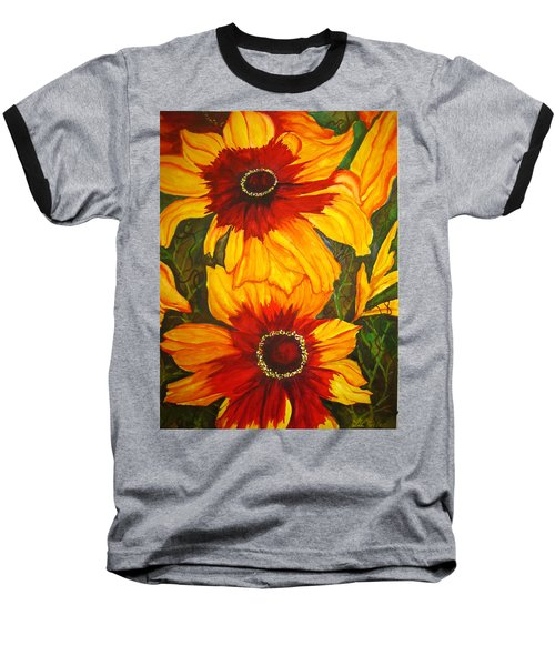 Baseball T-Shirt featuring the painting Blanket Flower by Lil Taylor
