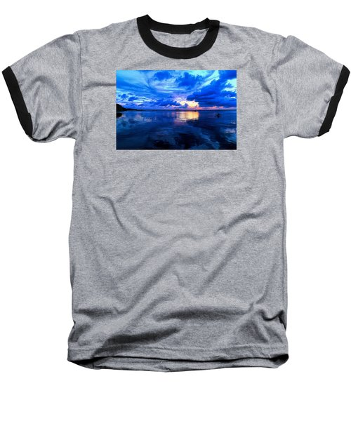Baseball T-Shirt featuring the photograph Blazing Blue Sunset by Anthony Baatz