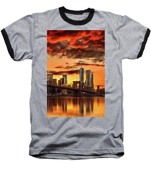 Blazing Manhattan Skyline Baseball T-Shirt