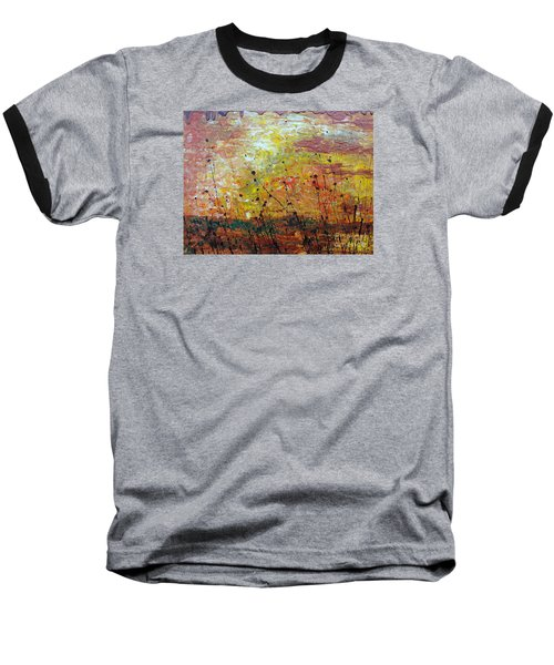 Baseball T-Shirt featuring the painting Blazing Prairie by Jacqueline Athmann