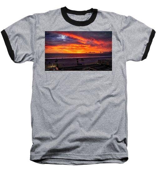 Blazing Sunset Over Malibu Baseball T-Shirt