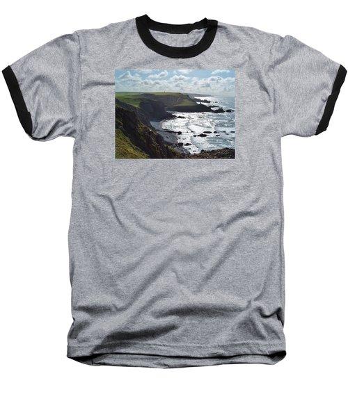 Blegberry Cliffs From Damehole Point Baseball T-Shirt by Richard Brookes