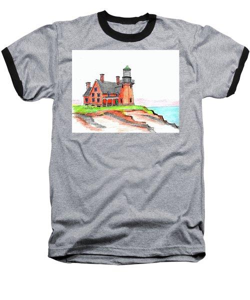 Block Island South Lighthouse Baseball T-Shirt by Paul Meinerth