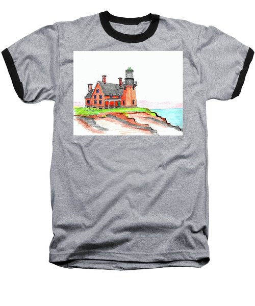 Block Island South Lighthouse Baseball T-Shirt
