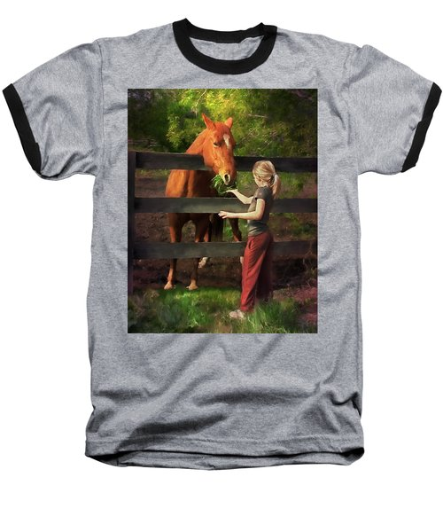 Blond With Horse Baseball T-Shirt