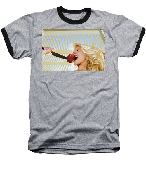 Blonde And Red Apple Baseball T-Shirt