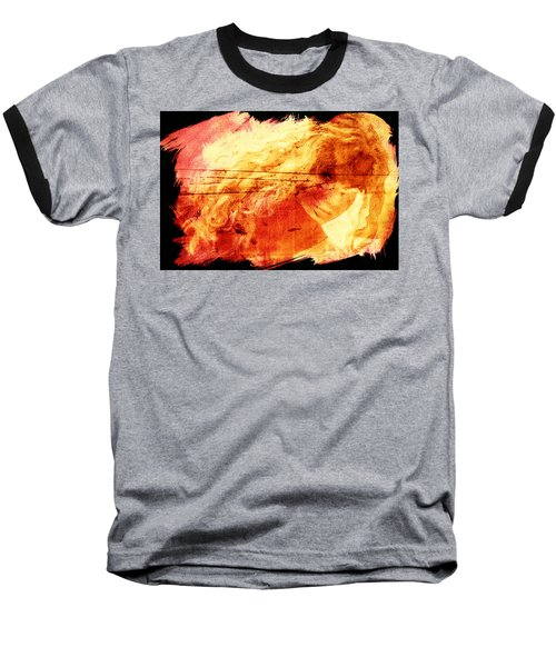 Blonde On Red Fire Baseball T-Shirt by Andrea Barbieri