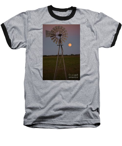 Baseball T-Shirt featuring the photograph Blood Moon And Windmill by Mark McReynolds