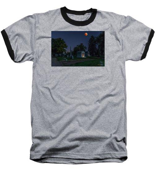 Baseball T-Shirt featuring the photograph Blood Moon At Fairmount Cemetery by Stephen  Johnson