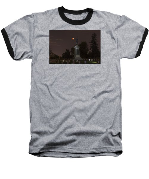 Baseball T-Shirt featuring the photograph Blood Moon At The Colorado Volunteers Memorial by Stephen  Johnson