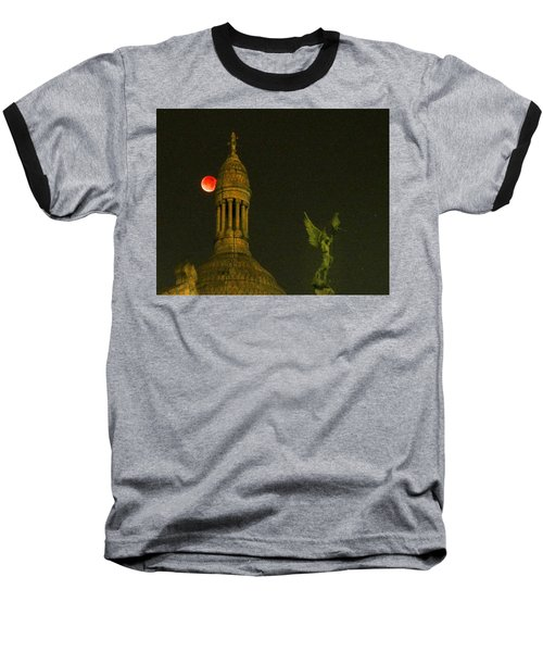 Baseball T-Shirt featuring the photograph Blood Moon Eclipse At Sacre Coeur Paris  2015 by Sally Ross