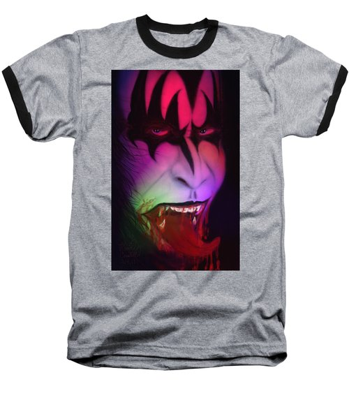 Baseball T-Shirt featuring the painting Bloody Demon by Kevin Caudill