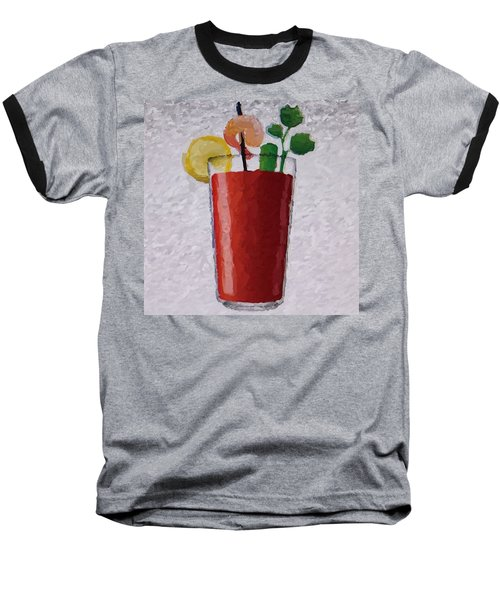 Bloody Mary Emoji Baseball T-Shirt by  Judy Bernier